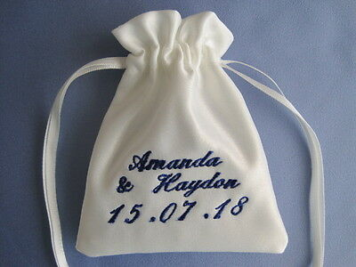 Personalised Ivory Bridal Satin Wedding Ring Pouch Wedding Ring Cushion Pillow
