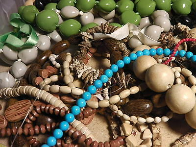 WHOLESALE LOT OF 1KG  37FEET - WOOD NUT AND STONE BEADS! Phillipine hardwood NEW