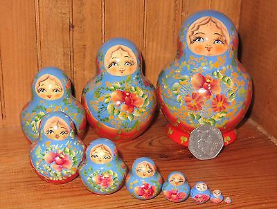 Russian HAND PAINTED stacking dolls 10 BLUE RED Matryoshka signed MARCHENKO GIFT