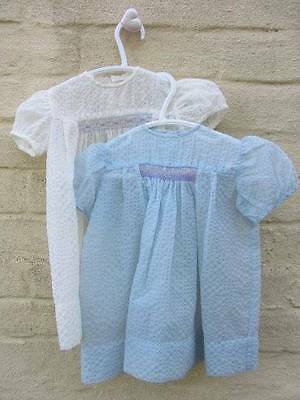 2 vintage baby dresses 50's classic smocking blue white age 1 Horrockses