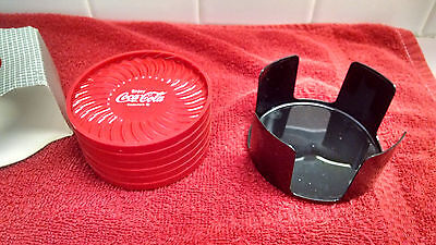 "Coca-Cola Coaster set (Hard Plastic) with holder  3.5"" Round New Old Stock!"