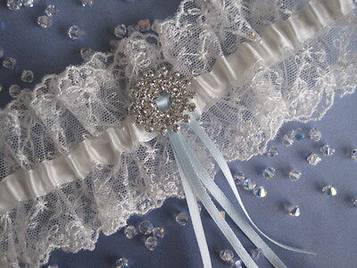Wedding Day Ivory Lace Sparkling Diamante Wedding Bridal Garter Gift For Bride