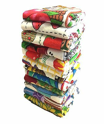 Pack Of 12 - 100% Cotton Printed Kitchen Cleaning Dish Cloths Drying Tea Towels