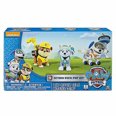 PAW PATROL ACTION PACK PUPS 3 PK Robodog Everest & Rubble Figures *NEW*