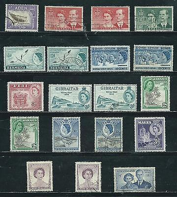 Royal Visit Issue 1953-54 - 19 stamps mixed - Common Design Types