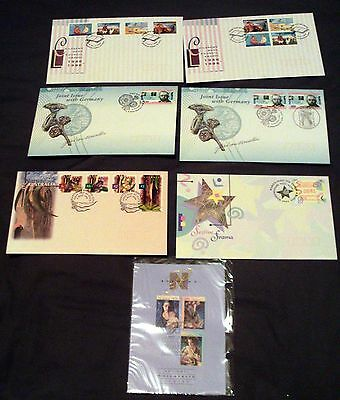 6 x AUSTRALIA ALL DIFFERENT ILLUSTRATED FIRST DAY COVERS + PO XMAS CARD, 1996.