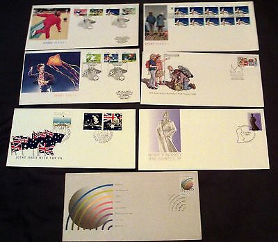 7 x AUSTRALIA ALL DIFFERENT ILLUSTRATED FIRST DAY COVERS, 1989.