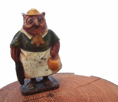 Vintage Painted Cast Metal Miniature Dressed OWL w/apron+hat Figurine