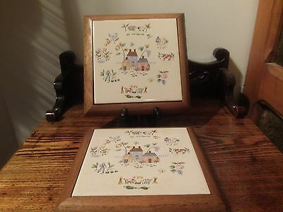 international heartland set of two hot plates or wall hangings