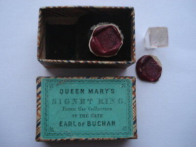 Rare C1870S Queen Mary's Signet Ring (Seal) Late Earl Of Buchan In Souvenir Box