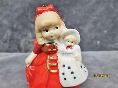Vintage Beautiful Girl Holding A Doll Christmas Ornament