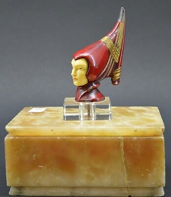 Vintage Art Deco Alabaster Lidded Box With Figural Head Finial