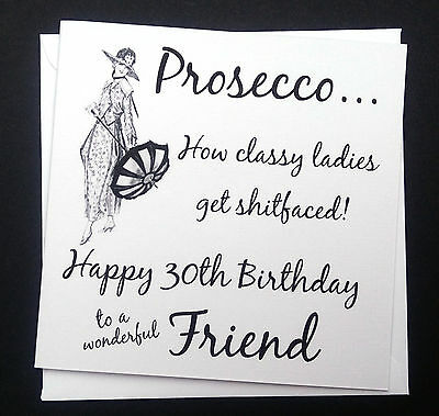 Funny Rude Naughty Retro Vintage Prosecco Birthday Card - Friend Sister Auntie