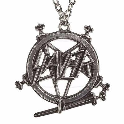 Alchemy Rocks Slayer Pentagram Logo Pendant Necklace Pewter Official Band Merch
