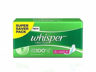 Whisper Ultra CleanXL Wings (30 Pads) 5% more absorbency long lasting protection
