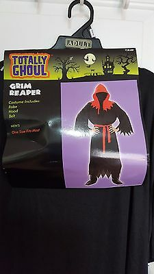 New Totally Ghoul Grim Reaper Black/Red Halloween Costume One Size Fit Most