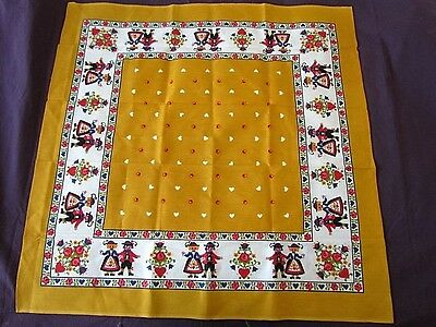 Small Tablecloth Vintage Printed German Floral Ethnic  New Folk Art yellow Roses