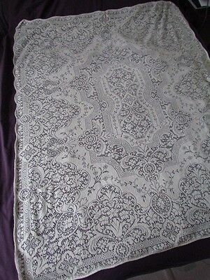"Vintage  62""x50"" Quaker lace Floral Small tablecloth Cotton or Blend Cream Ivory"