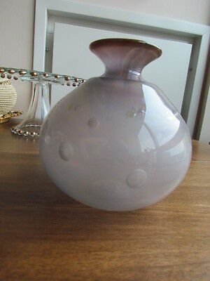 "Vintage Murano Venetian Art Glass Signed Buble Vase hand crafted Grey 5"" tall"