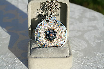 Large Circular Vintage Caithness Millefiori Glass Sterling Silver Pendant