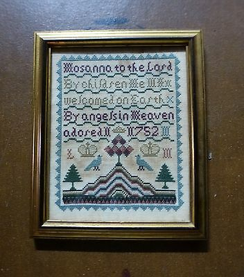 """""""Hosanna to the Lord"""" Vintage Hand Embroidered Cross Stitch Sampler 10"""" x 8"""""""