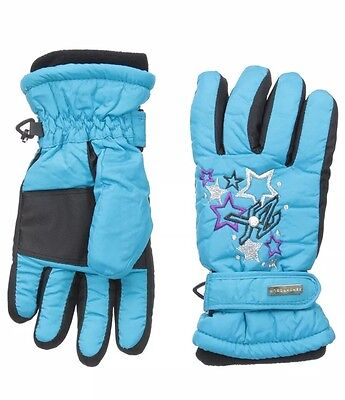 *NEW ZeroXposur Girls Thinsulate Waterproof Ski Gloves Blue Youth Size Med/Large