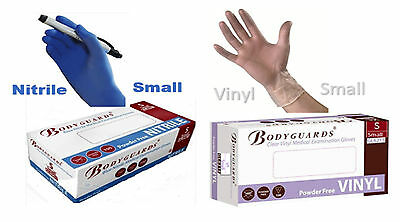 1000 Bodyguards Nitrile or Vinyl Medical Examination Gloves Powder Free SMALL!