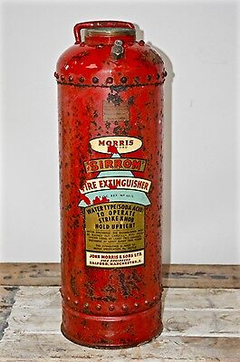 Antique Vintage Empty Sirrom Morris Red Steel Fire Extinguisher 2 Gallons 1959