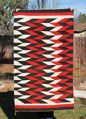 Old Ganado Navajo Indian Rug - Dramatic  Red White Black Interlocked Pattern