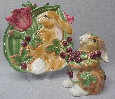 New Fitz & Floyd Blackberry Rabbit Canape Plate & Candy Dish j686