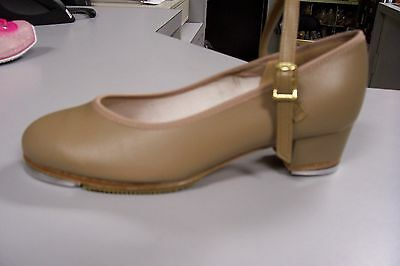 """Leather Tan Cuban 1.5"""" Heel Tap Shoes w/high quality taps-  Brand new Size 4.5C."""