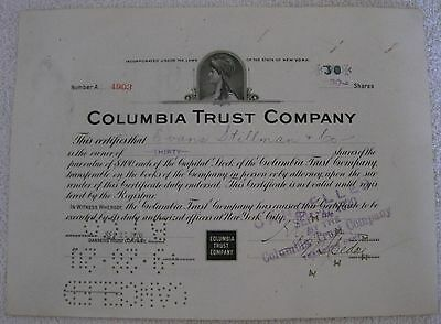 Columbia Trust Company Stock Certificate, 30 shares, New York Bank 1920