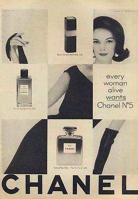 1962 Chanel No 5 Perfume Products Bottles Vintage Bottle PRINT AD