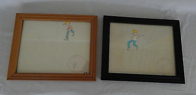 Lot Of 2 Bruce Cayard Framed & Signed Hand Painted Animation Cels From Sesame St