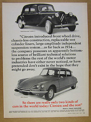 1969 Citroen DS-21 Pallas & Traction Avant Model 11 photo vintage print Ad