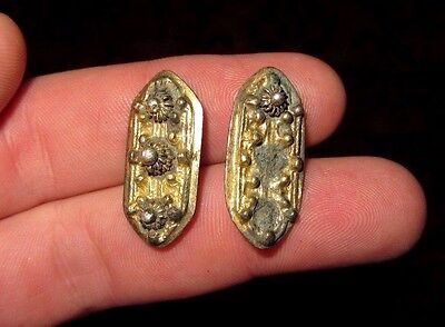 Ancient Byzantine Gold Plated Artifact, Ornament Pair RARE