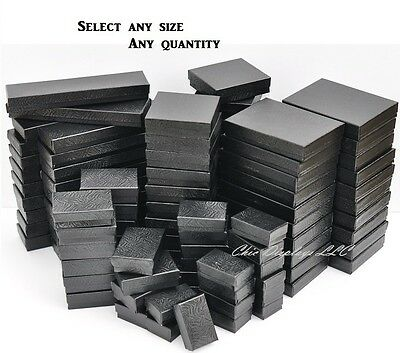 LOT of 20~50~100~500 Pc SWIRL BLACK COTTON FILLED BOXES BLACK JEWELRY GIFT BOXES