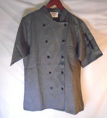 New Happy Chef Cook Heather Gray Jacket Uniform For Women - Size M