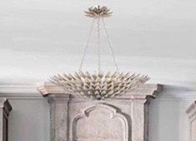 Horchow Currey Co Oleander STYLE Antique Silver French Modern Floral Chandelier