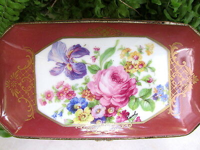Beautiful Antique  French Porcelain Jewelry Box Marked Made In France