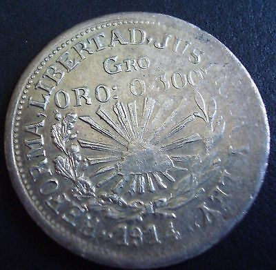 Mexico $1 peso silver en gold o.300 Taxco Guerrero Revolutionary plain edge 1914