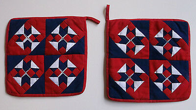 Pair of Vintage Hand Crafted Quilted Pot Holders with Loops for Diagonal Hanging