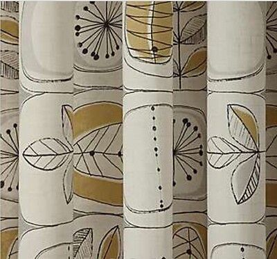 "90 x 90"" Ochre Yellow Abstract Leaf Print Fully Lined Eyelet Curtain Dandelion"