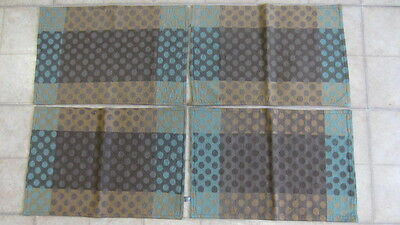 4) Teal, Brown & Gold Polk A Dot Patterned Cloth Placemats, 17 1/2 x 11 3/4 in.