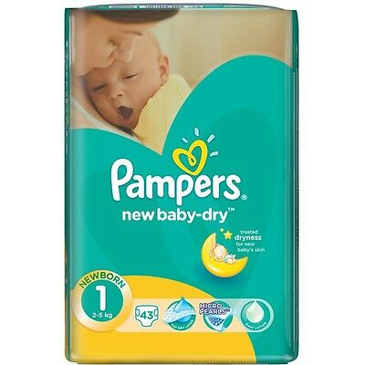 ✿ 258 COUCHES PAMPERS NEW BABY-DRY TAILLE 1 (2/5 kg) ✿