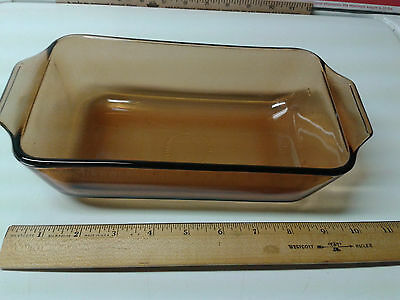 Vintage  Amber Glass Baking Dish Casserole   unknown