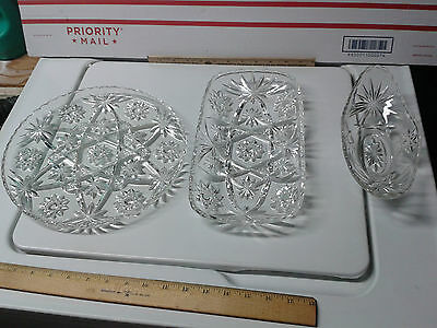 Serving Set of Trays Glass Vintage Crystal Dishes Kitchen Decor