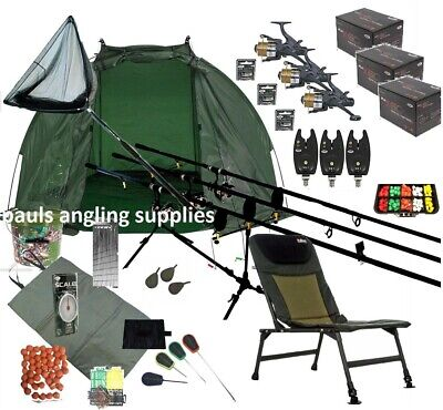 3 Rod Carp Fishing Set Up Kit CARBON Rods Reels Chair Alarms Bait Tackle Mat