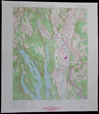 New Milford Connecticut Lake Candlewood vintage 1972 old USGS Topo chart