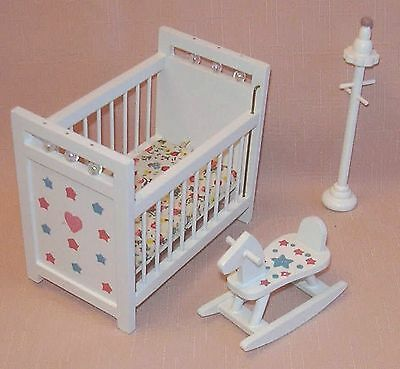 3 Pieces White Nursery Furniture 12th  Doll House